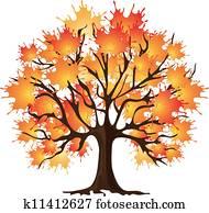 Art autumn tree. Maple