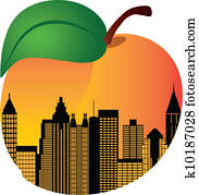 Atlanta Georgia Night Skyline Inside Peach Illustration