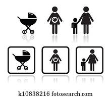 Baby icons set - carriage, pregnant