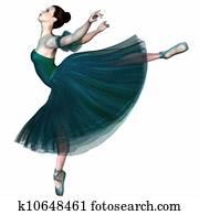 Ballerina in Green - Balancing