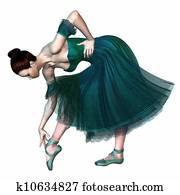 Ballerina in Green Romantic Tutu