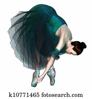 Ballerina in Green Tutu and Shoes