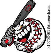 baseball, mit, karikatur, gesicht, schwingen, fledermaus, vektor, bild