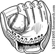 baseballhandschuh, skizze