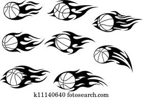 Basketball balls with fire flames