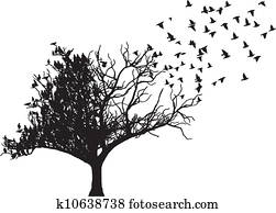 baum, vogel, kunst, vektor