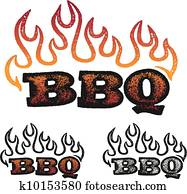 BBQ Graphics with Flames
