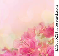 Beautiful abstract floral background with pink flowers. Border design