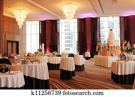 Beautiful ballroom decorated for wedding