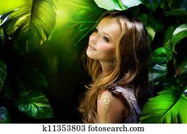 Beautiful Girl in Jungle