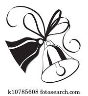 Bell sketch for Christmas or wedding with bow
