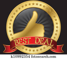 Best deal label with thumb up and r