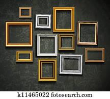 bilderrahmen, vector., foto, kunst, gallery., bilderrahmen, vector., ph