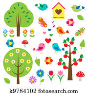 Birds and trees. Vector set