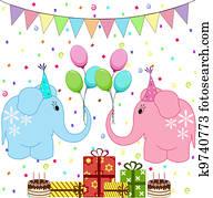 Birthday party elephants set