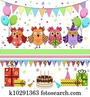 Birthday party owls set