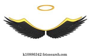 Black angel wings