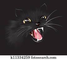 Black cat, vector illustration
