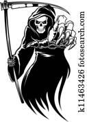 Black death monster with scythe