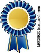 Blue award seal rosette