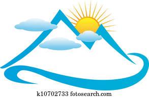 Blue cloudy mountains logo
