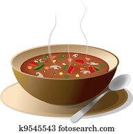 Bowl of hot vegetable soup