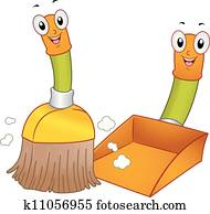 Broom and Dustpan Mascots