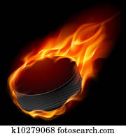 Burning hockey puck