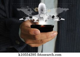 business man hand use mobile phone streaming travel around the world