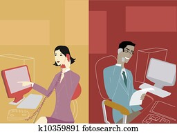 Businessman and businesswoman having a telephone conversation