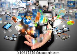 Businessman holding social media