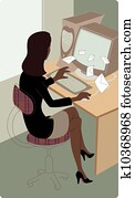 Businesswoman checking email at her desk