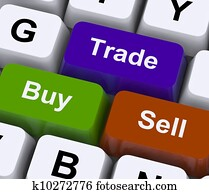 Buy Trade And Sell Keys Represent Commerce Online