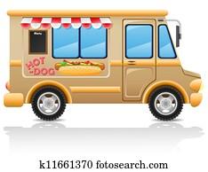 car hot dog fast food illustration