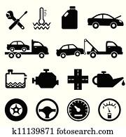 Car, mechanic and maintenance icons