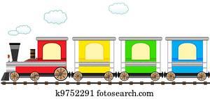 cartoon cute colorful train in rail
