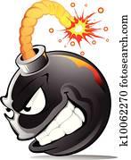 Cartoon evil bomb