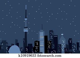 Cartoon Toronto at Night