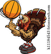 Cartoon Vector Image of a Thanksgiving Holiday Soccer Turkey spinning a Basketball Ball on Its Finger