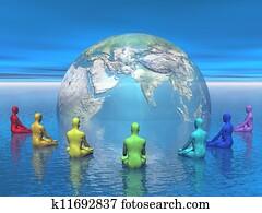 Chakra meditation for earth - 3D render
