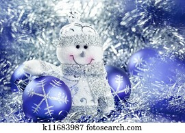Christmas background with snowman and balls