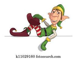 Christmas Elf Laying on an Edge
