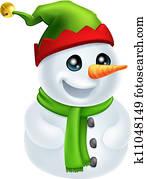 Christmas Snowman in Elf Hat