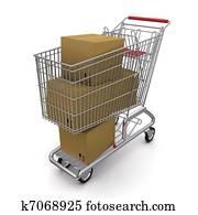 closed cardboard box in the trolley