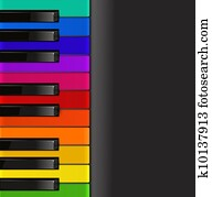 colorful piano keyboard on a black background
