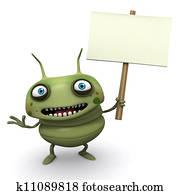Computer Bug holding blank board
