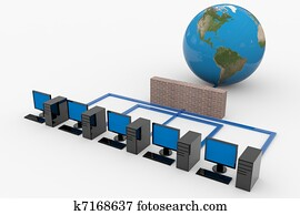 Computer network with server and firewall