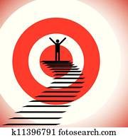 Concept illustration of a person reaching goal and winning a challenge. The graphic shows a detemined & confident person achieving success by reaching the target and winning