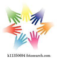 Concept illustration of colorful hands held together indicating social networking, team spirit, people bonding, multiracial group of people, partnership, helping each other, community of people, etc.