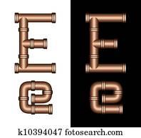 Copper Tubing Fittings 3D Letter E